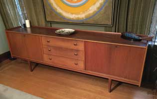 Danish mid century modern teal credenza with BRANTORPS label from a local Vancouver estate